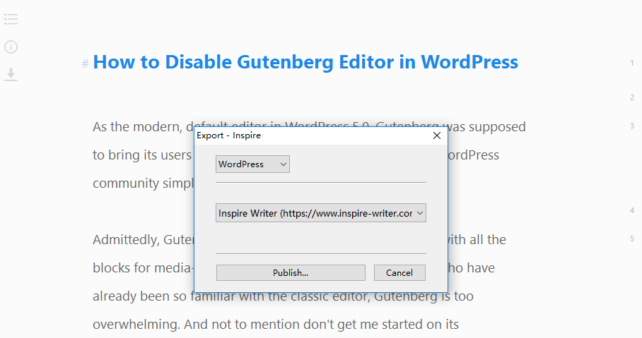 Publish your work to WordPress directly from Inspire Writer.