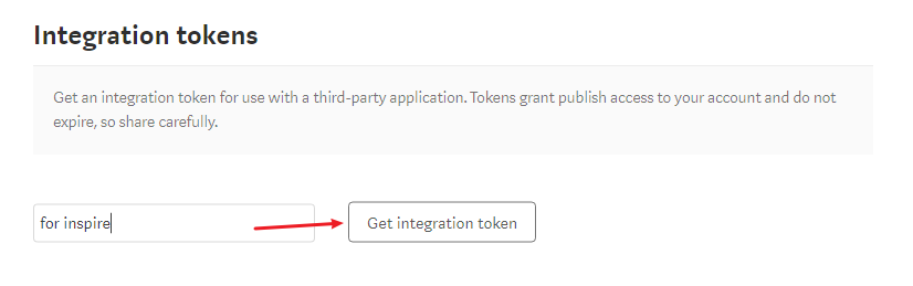 Get integration key for Inspire on Medium