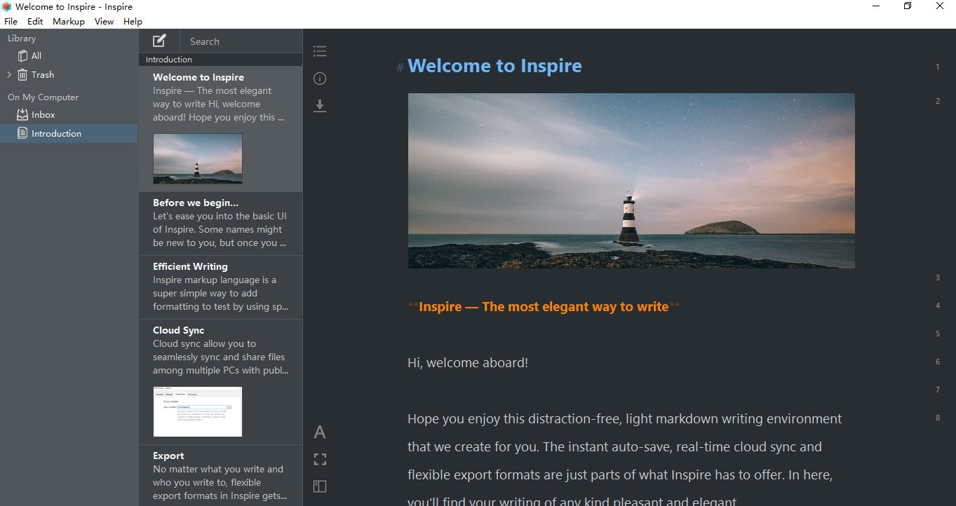 Inspire Markdown editor in Dark Mode