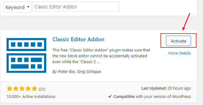 Activate Classic Editor Addon to disable Gutenberg