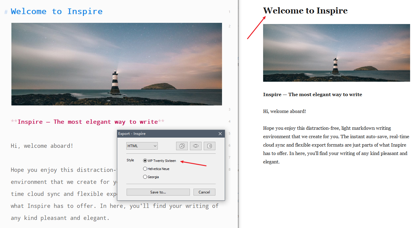 Export from Inspire Writer to a WordPress Twenty Sixteenth theme website