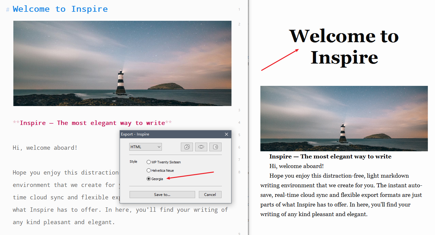 Export from Inspire Writer to a Geogia theme website