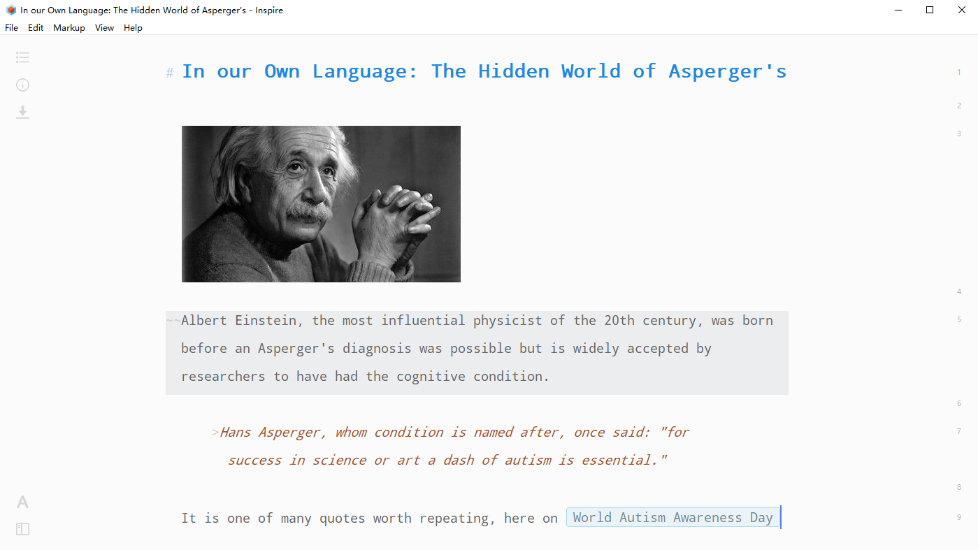 Inspire Writer Markdown allows you to add an image