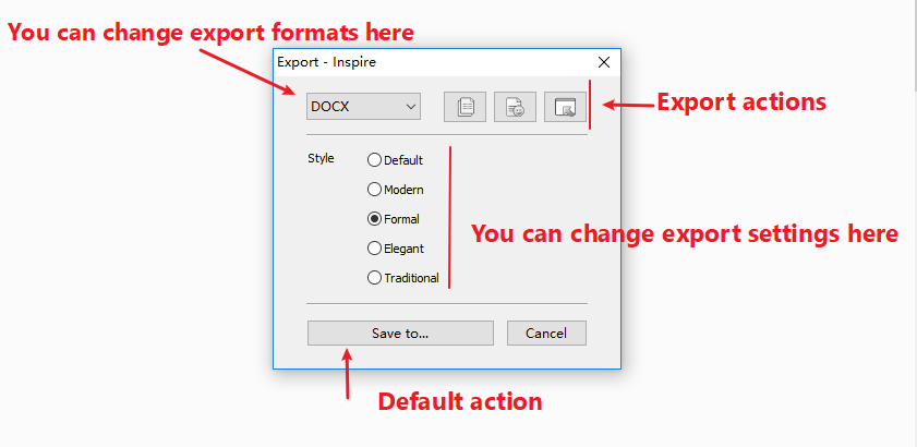 From left to right are what you can do in the export panel: you can change export formats, you can directly export, or see draft, you can change the export settings
