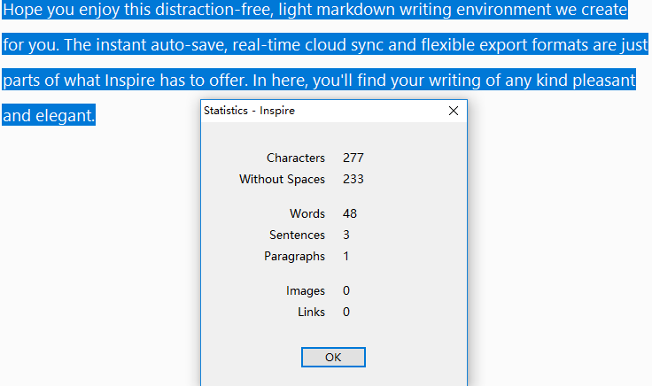 Statistics of the selected text only in Inspire.