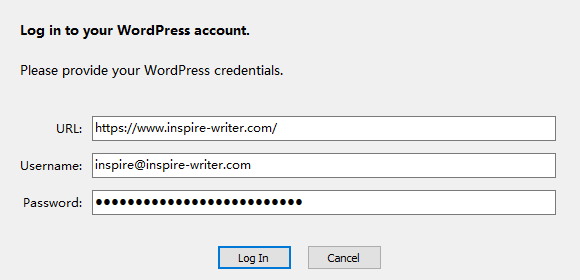 Enter your WordPress account credentials in Inspire the distraction-free writing app.