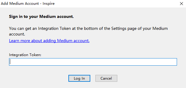 Provide Medium account integration token to Inspire